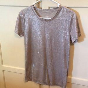 J.Crew Classy Silver Crewneck Linen Shirt size XS